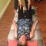 gentle yoga pose on back